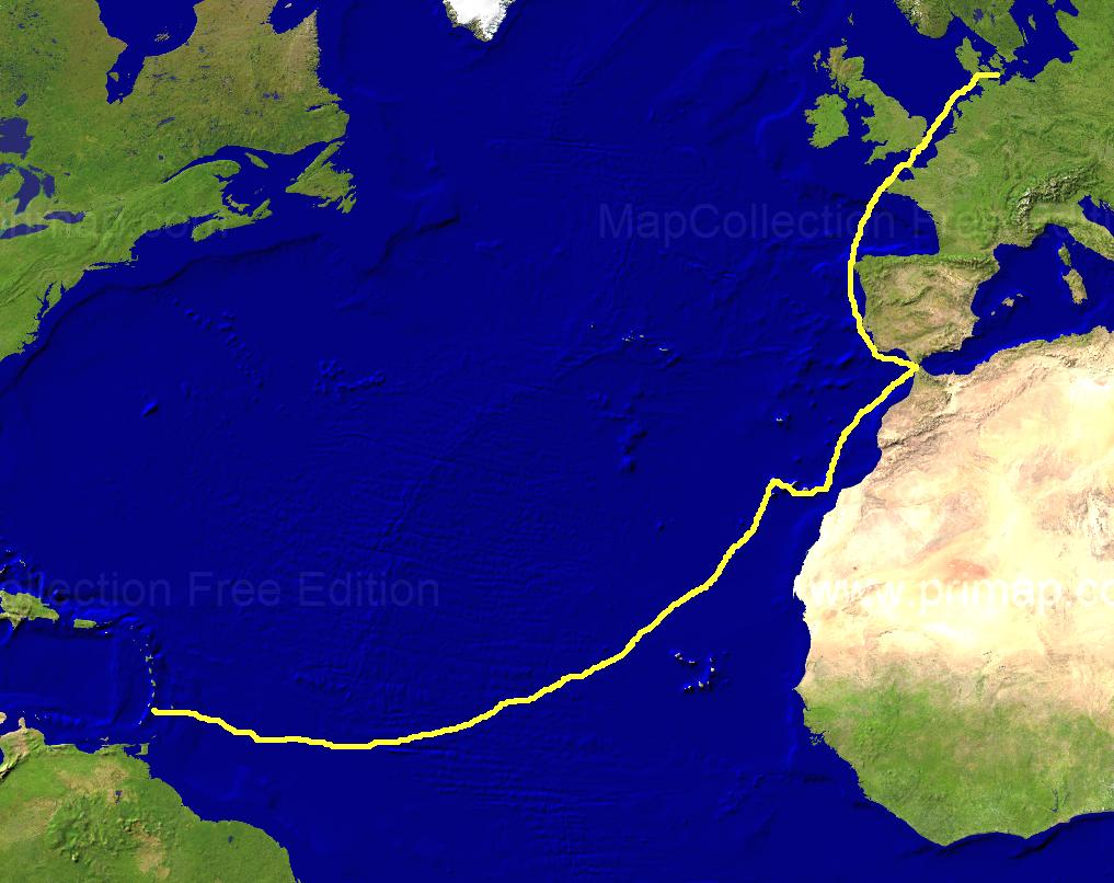 Karte Atlantischer Ozean Erster Abschnitt